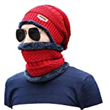 Jamicy® Herren Winter warme Fleece-Camping Hut Mütze Baggy Skimütze + Schal (Rot)