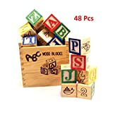 #10: ToyTree (TM) Alphabet & Number Non-Toxic Wooden ABC, 1234, Fruits, Vegetables and other designs Building Blocks (48 Wood Blocks, Block Size 3Cm Cube) with Box Storage Case
