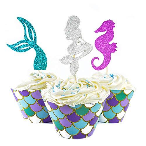 Muffin Topper (Herefun 60 Stücke Meerjungfrau Mini Kuchendekoration Cupcake Toppers und Wrappers Verpackung, Handmade für Kinder Party Kuchen Dekoration Geburtstag Deko Party Gegenstände)