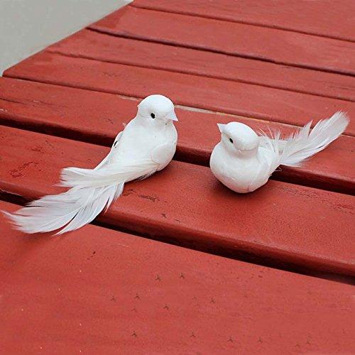 Yalulu 2 Stück 12*5*5CM Weiß Hochzeit Taubenpaar Künstlich Schaum Vögel Zuhause Ornaments Deko - 3
