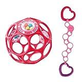Oball Set - für Mädchen Oball Rattle rot mit O-Link pink