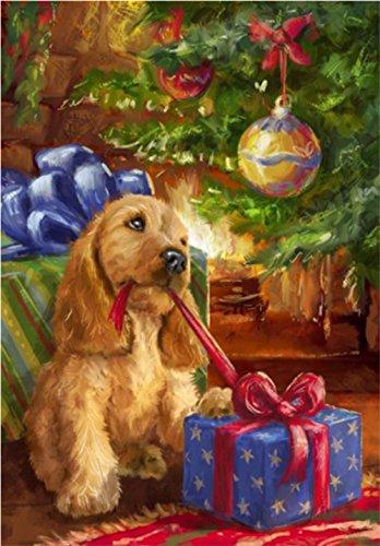 5D Diamond Painting Kit Bricolage en strass Broderie Cross Stitch Arts Craft pour décoration murale à la maison 11,8 * 15,7 pouces (30 * 40 cm) Chien cadeau de Noël