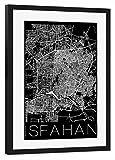 artboxONE Poster mit Rahmen Schwarz 45x30 cm Retro Map of