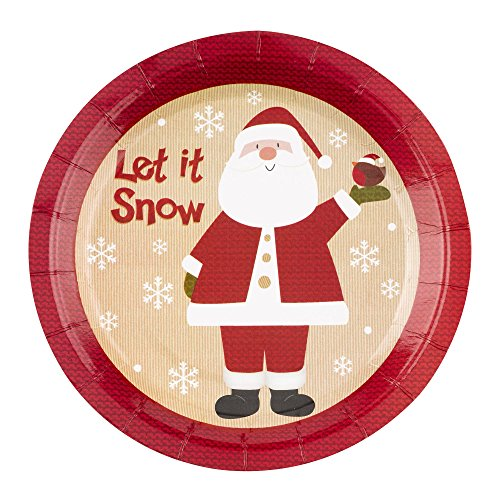 Neviti Let It Snow Father Christmas Plates, Multi-Colour, Pack of 8