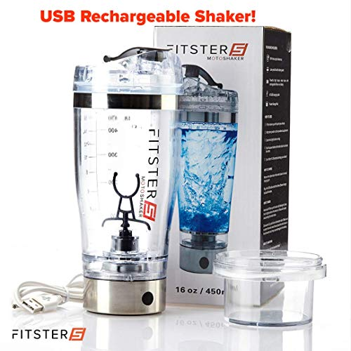 Fitster5 Protein Shaker Bottle Fully Automatic for Protein Shakes and Smoothies Portable Electric Bottle with USB Charging, 450ml