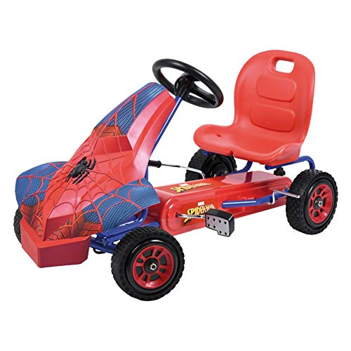 Hauck Marvel Spiderman Kart para niños - Coche a Pedales con 1 marcha , Freno de mano, Asiento ajustable en 3 posiciones y Neumáticos con perfil de goma