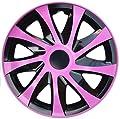 4 X Radabdeckungen Radkappensatz DRACO CS in 15 ZOLL Schwarz-Pink Farbe