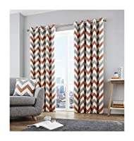 """Zig Zag Chevron Orange Grey Cream Fully Lined 46"""" X 72"""" - 117cm X 183cm Ring Top Curtains from Curtains"""