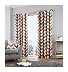 "Zig Zag Chevron Orange Grey Cream Fully Lined 46"" X 72"" - 117cm X 183cm Ring Top Curtains from Curtains"