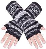 Wooly Bugged Damen Stricken Armwärmer Lange Fingerlose Handschuhe wolle Schwarz