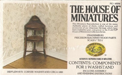 Dollhouse Furniture- Hepplewhite Corner Washstand/ Circa 1800 #40056 Assembled (The House of Miniatures) by The House of Miniatures
