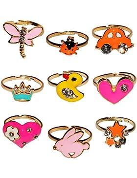 verstellbarer Ring - Pilz - Kleeblatt - Herz - Kirsche - Schmetterling - Delfin - bunt - passend für Kinder &...