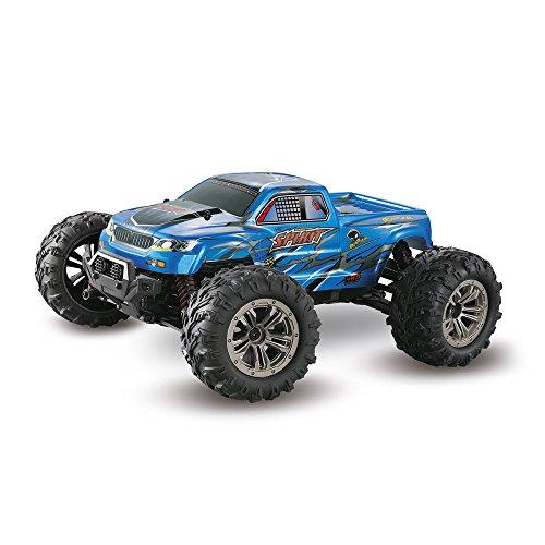 TianranRT Bigfoot Wasserdicht Allrad Laufwerk, 1: 16 Hoch Geschwindigkeit 36 km/h 4WD 2,4 GHz Fernbedienung Steuerung LKW 9130 Offroad RC Auto (Blau) (Bigfoot-tools)