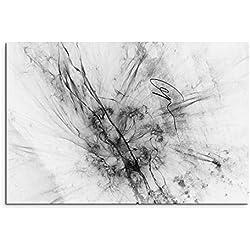 Sinus Art Abstrakt 1169-120x80cm SCHWARZ-Weiss Bilder - Wandbild Kunstdruck in XXL Format - Fertig Aufgespannt – TOP - Leinwand - Wand Bild - Kunst Bild - Wandbild abstrakt XXL