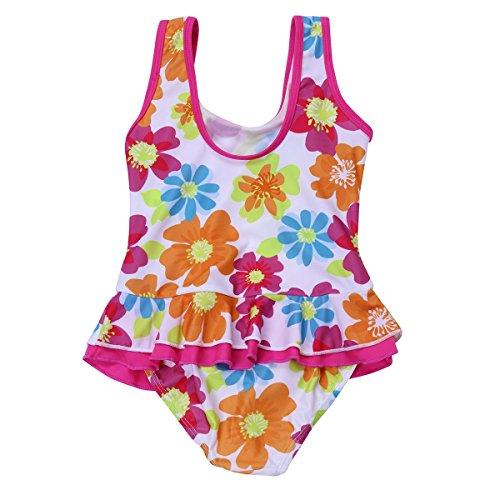 Mädchen Strampler Schwimmen (iiniim Mädchen Kinder Badeanzug Sommer Floral Print Bikini Einteiler Schwimmanzug Kleinkind Bademode Gr.86-116 Mehrfarbig 98-104/3-4 Jahre)
