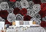Wallsticker Warehouse Rot Graue Rosen Blumen Vintage Fototapete - Tapete - Fotomural - Mural Wandbild - (3100WM) - XXXL - 416cm x 254cm - VLIES (EasyInstall) - 4 Pieces