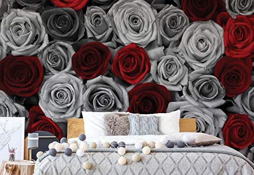 Schwarz Und Weiß Gedruckt (Wallsticker Warehouse Rote Rosen Schwarz Und Weiß Vlies Fototapete Fotomural - Wandbild - Tapete - 254cm x 184cm / 2 Teilig - Gedrückt auf 130gsm Vlies - 3100V4 - Blumen)