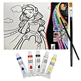 AsianHobbyCrafts Canvas Painting Kit with 5 Acrylic Colors, 2 Paint Brushes, 1 Palette (Snow white)
