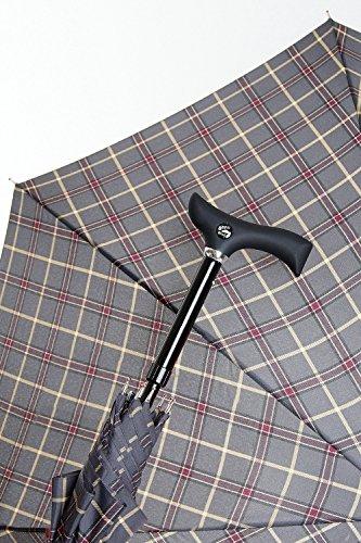 Preisvergleich Produktbild DESIGNER Automatik Schirm GEHHILFE GREY KARO GEHSTOCK für modebewusste Senioren