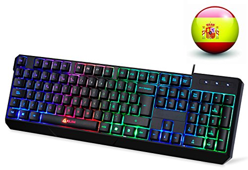 KLIM Chroma Teclado Gaming en ESPAÑOL USB – Alto Desempeño – Retroiluminación a Color Estilo Gaming – Teclado para Juegos