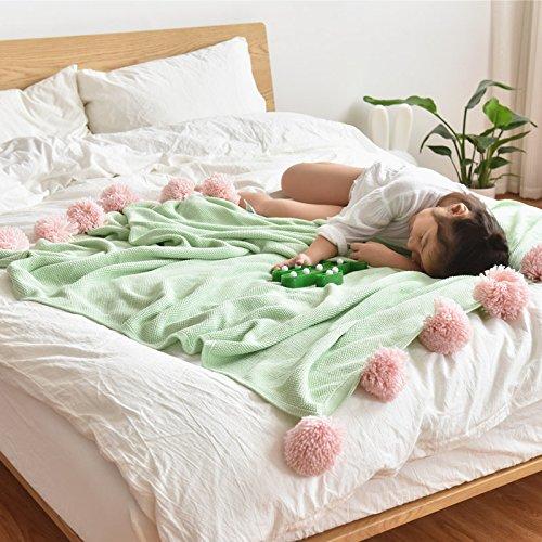 te weiche komfortable Sommer Klimaanlage Quilt handgemachte Sommer leichte gestrickte Decke, waschbar 1 Stück,Baumwolle handgemachte Wolle Ball gestrickte Decke 130 * 160cm, Hellgrün (übergroße Strand Bälle)