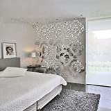 Wandaufkleber Diy Europäischen Stil Luxus Carving Muster 3D Acryl Spiegel Wandaufkleber Wohnzimmer Dekoration Friseursalon Dekor, Silber