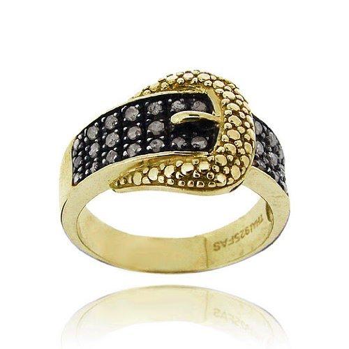 Tono de oro sobre plata esterlina Anillo acento diamante negro hebilla de cinturón
