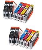 12er Set Druckerpatronen kompatibel zu Canon PGI-550 / CLI-551 XL geeignet für CANON Pixma MG6350 / MG7150 / IP8750