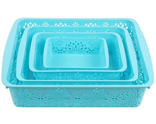 Miamour 4 Piece Plastic Basket, Blue