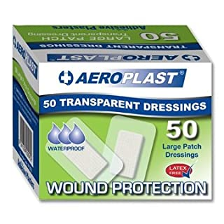 Aeroplast Transparent Plasters, Large Patch 50mm x 75mm (Box of 50)