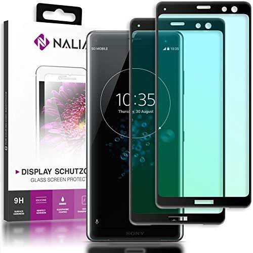 NALIA (2-Pack) Schutzglas kompatibel mit Sony Xperia XZ3, 9H Full-Cover Bildschirm Schutz Glas-Folie, Dünne Handy Schutzfolie Display-Abdeckung Schutz-Film HD Screen Protector - Transparent (schwarz)