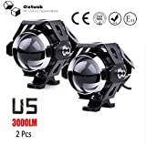 #9: Oxtusk High Beam Intensity U5 15 Watt Cree led Projector Auxiliary Spot Light Set of 2,for All Motorcycles, ATV, Boats and Cars