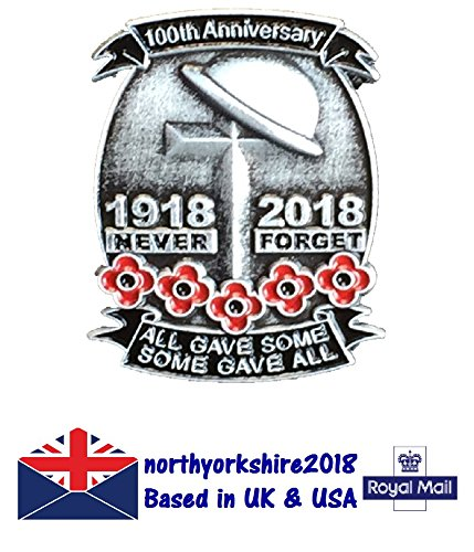 Rare 1918-2018 100th Anniversary First World War Lone Soldier Veterans Red Poppy Enamel Pin Badge Brooch