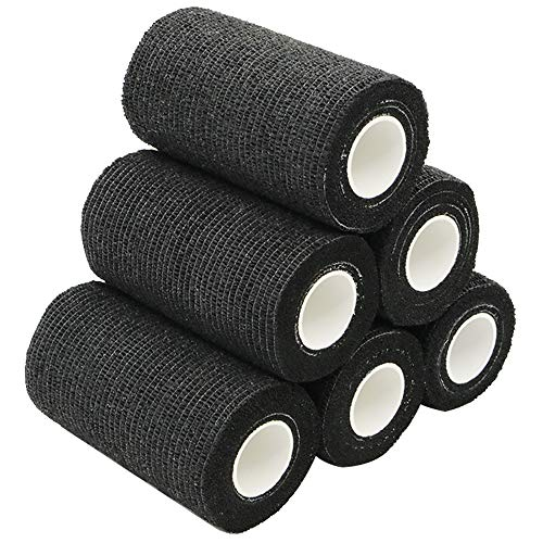 YuMai Selbsthaftende Elastische Bandage, 10cm x 6 Rollen, Medizinische Cohesive Bandage, Bandagen Athletic - Schwarz