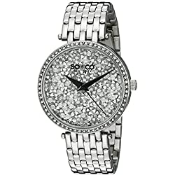 SO&CO New York Women's 5080.1 SoHo Quartz Crystal Filled Dial Stainless Steel Link Bracelet Watch