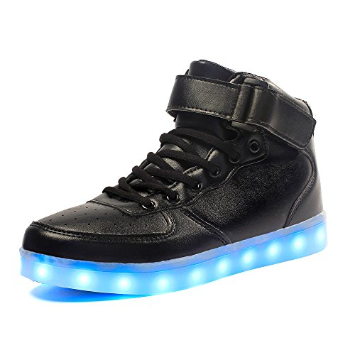 Voovix Kinder High-top LED Licht Blinkt Sneaker mit Fernbedienung-USB Aufladen Led Schuhe für Jungen und Mädchen(Schwarz, EU39/CN39) (Blinkt Led-lichter Die)