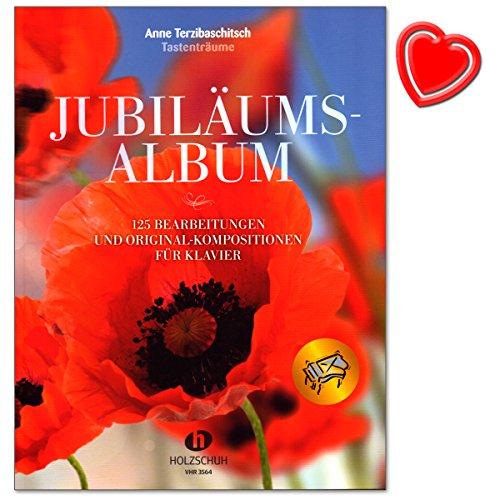 Jubiläumsalbum Tastenträume von Anne Terzibaschitsch - 125 Bearbeitungen und Original-Kompositionen für Klavier - Noten bunter herzförmiger Notenklammer (Halleluja Noten)