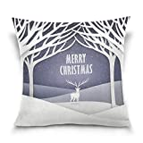 """MRMIAN Christmas Snow Reindeer White Pillowcases Two Sides Decorative Cushion Cover 20""""X20"""""""