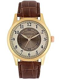 Reloj hombre JEAN Bellecour y pulsera de cuarzo reloj dorado color blanco 42 mm Marrón Piel jb1043