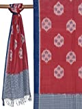Red and Blue Pochampally Ikat Cotton Handloom Stole with Buta Design