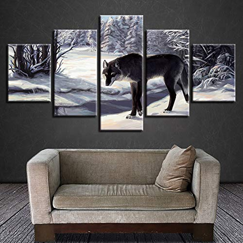 mmwin Leinwand Kunstdruck Modulare Poster Wandbild 5 Panel Tier Schwarz Wolf Für Hauptdekoration Kinderzimmer Arbeit