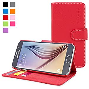 Snugg™ Galaxy S6 Edge Case - Leather Flip Case with Lifetime Guarantee (Red) for Galaxy S6 Edge