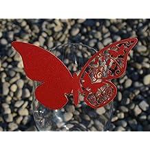Juego de cristal mariposa soporte marcador de posición en varios colores; favor de la boda; pergamino papel Granata