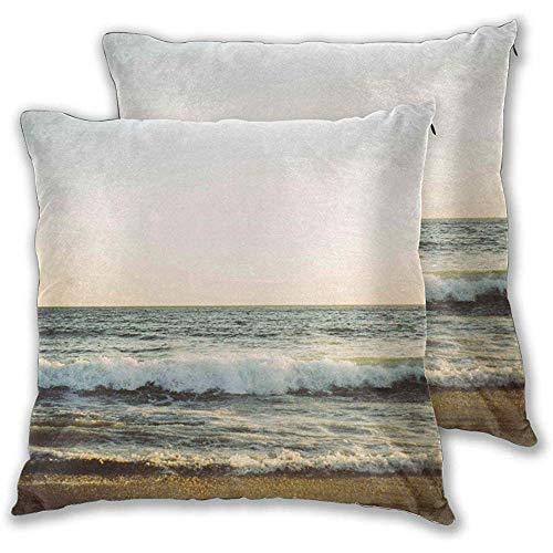 DayToy Set mit 1 Kissenbezug Sea Beach Ocean Waves Kissenbezüge Dekorative quadratische Kissenschoner