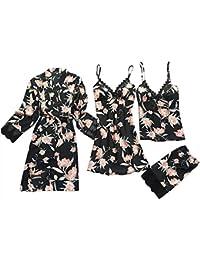 KIMODO Pijamas de Ropa de Dormir con Lazo de Encaje con Estampado de Moda de satén