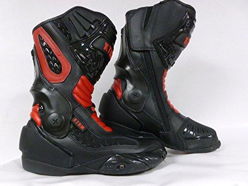 Stivali moto XTRM VENOM Stivali per motociclismo, Stivali da corsa, Stivale Urbani moto Stivali sportivi scooter, Nero Rosso (EU 43)