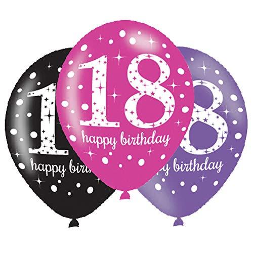 Amscan 9900874 Latex-Ballons zum 18. Geburtstag, farblich sortiert, 27,5cm (Go Go Girl Halloween-kostüm)