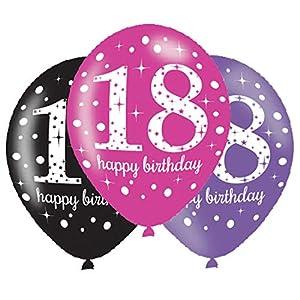 amscan 9900874 - Globos de látex para celebración del 18º cumpleaños (11 Pulgadas)