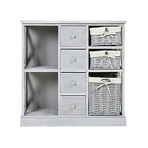 Rebecca Srl (Art.-Nr. RE4016) Hochkommode mit vier Schubladen/drei Rattankörben, aus Paulownienholz, in grau, im Shabby Chic Look, für alle Wohnräume