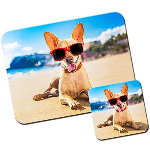 mexikanischen-chihuahua-taco-bell-hund-mauspad-und-untersetzer-set-wearing-red-sunglass-on-beach